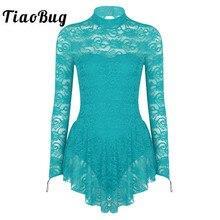 TiaoBug tutú de encaje suave de manga larga para adultos, malla de Ballet, gimnasia, vestido de patinaje artístico, trajes de baile lírico de competición