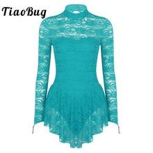 TiaoBug למבוגרים ארוך שרוול רך תחרה טוטו בלט התעמלות בגד גוף נשים איור החלקה שמלת תחרות תחפושות ריקוד לירי