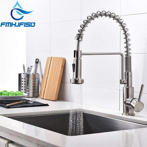 Lead-Free Commercial Brushed Nickel Single Handle Single Lever Pull Out Down Sprayer Spring Kitchen Sink  Faucet