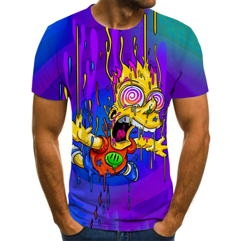 New 3D printing T-shirt summer funny street Simpson clothing  1