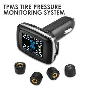 Автомобильная TPMS беспроводная система контроля давления в шинах датчики прикуривателя USB порт автоматическая система охранной сигнализац...