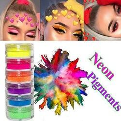 6 цветов Комплект Неон глаз блесток пигмент для ногтей с блестящим напылением тени для век Косметические кисти для макияжа Набор теней для в...
