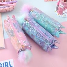 Kawaii Unicorn Pencil Case School Sequin Pencilcase for Girls Pen Box Multi Big Cosmetic Penal Bag Cute Korean Cartridge Pouch