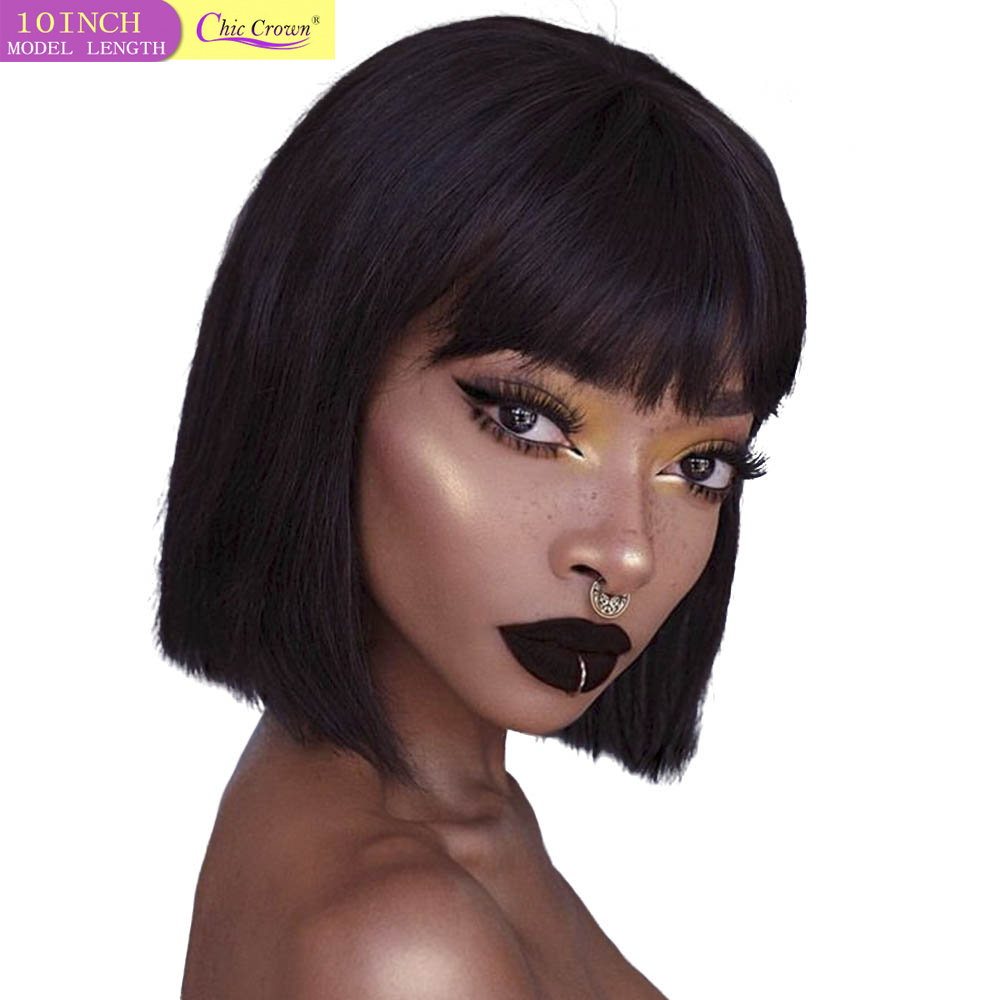 Short Bob Human Hair Wigs Brazilian Straight Wigs 27# Honey Blonde Machine Wig With Bangs Short Cut No Lace Wigs For Black Women
