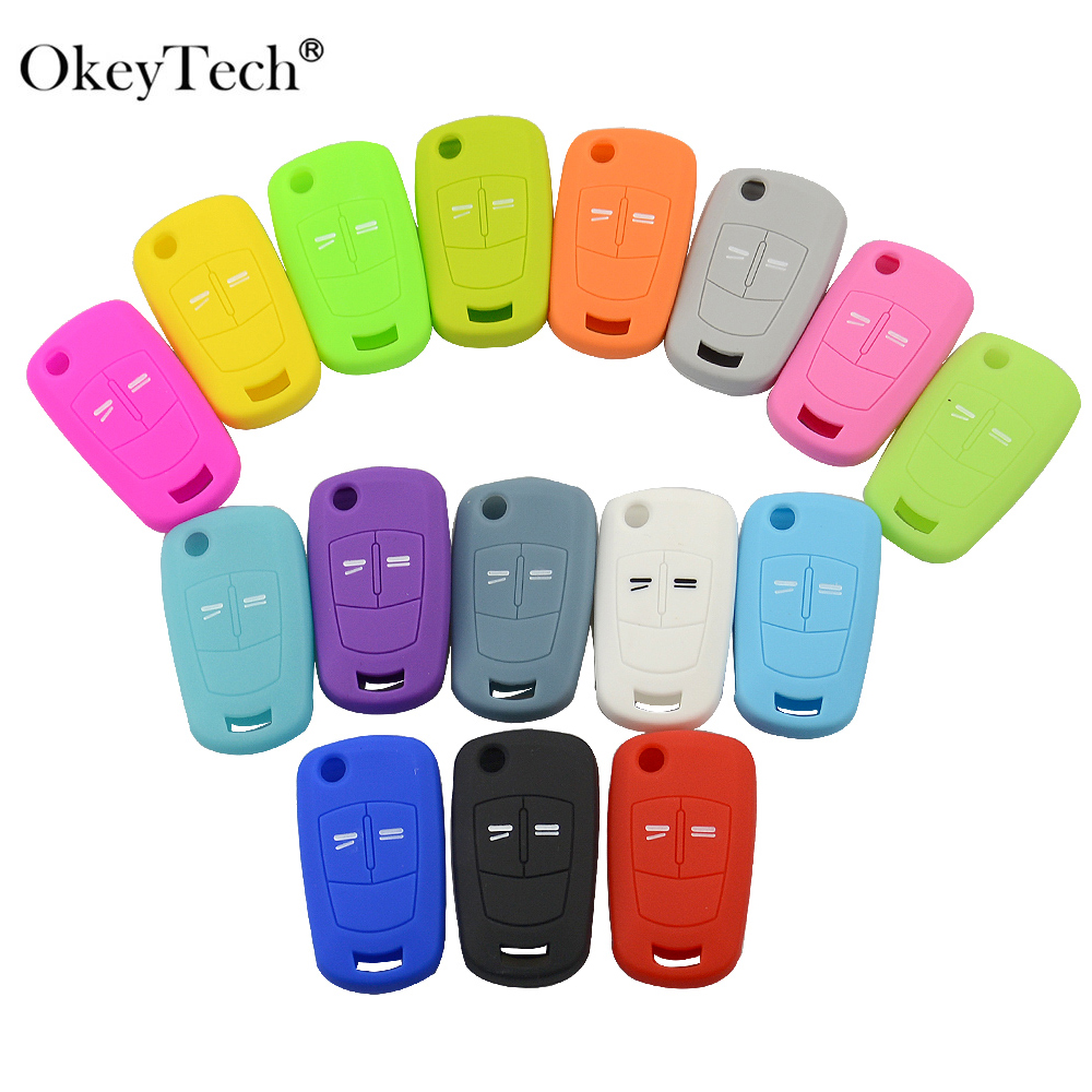 OkeyTech Colorful 2 Buttons Car Key Shell Fob Cover For Opel Astra H Corsa D J Insignia G Vectra C Mokka Zafira Car Key Case
