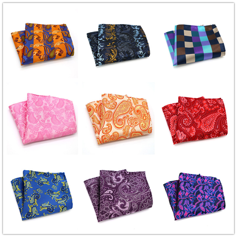 Men's Handkerchief Paisley Geometric 100% Silk Pocket Square For Men Hanky Jacquard Woven Wedding Party Handkerchief 10 Inch