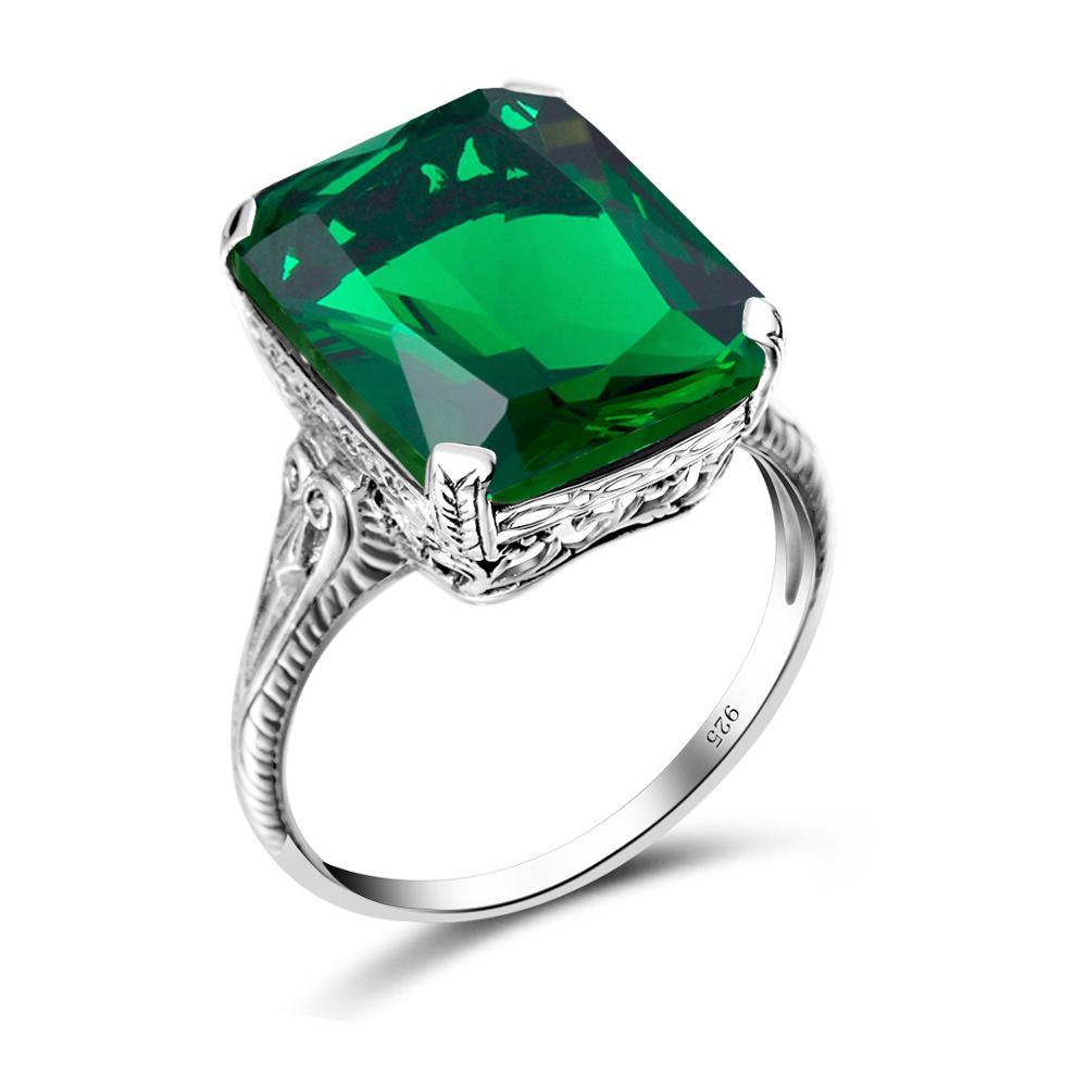 Szjinao Genuine Emerald Gemstone Rings for Women Wedding Engagement Jewelry 925 Sterling Silver Fine Jewellery Ringen Factory