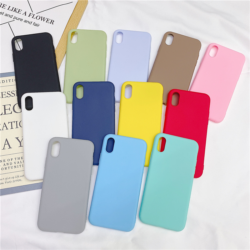 Matte <font><b>Case</b></font> For <font><b>OPPO</b></font> R9 R9S <font><b>R11</b></font> R11S R15 K5 A11X A1K K1 R17 F11 <font><b>PRO</b></font> Realme 3 C2 5 RENO 10 Cover Simple Solid Silicone <font><b>Cases</b></font> image