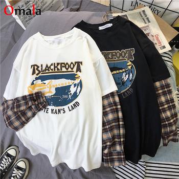 Moda z długim rękawem t-shirt koreański proste ponadgabarytowe koszulki z nadrukami koszule damskie rozrywka Plaid patchwork t shirt biały czarny top tanie i dobre opinie WAVMIT CN (pochodzenie) Wiosna jesień Poliester tops Tees Pełna REGULAR Dzianiny WOMEN NONE Na co dzień Osób w wieku 18-35 lat