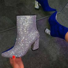 Hot Style Sequin Fashion Female  Martin Boots High Heel Women Shoes Mid calf Boots Sexy Ladies Thin High Heels Pointed Toe Pumps