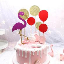 FENGRISE Pink Flamingo Cake Topper Wedding Cupcake Decoration Anniversary Decorating Supplies Party Decor