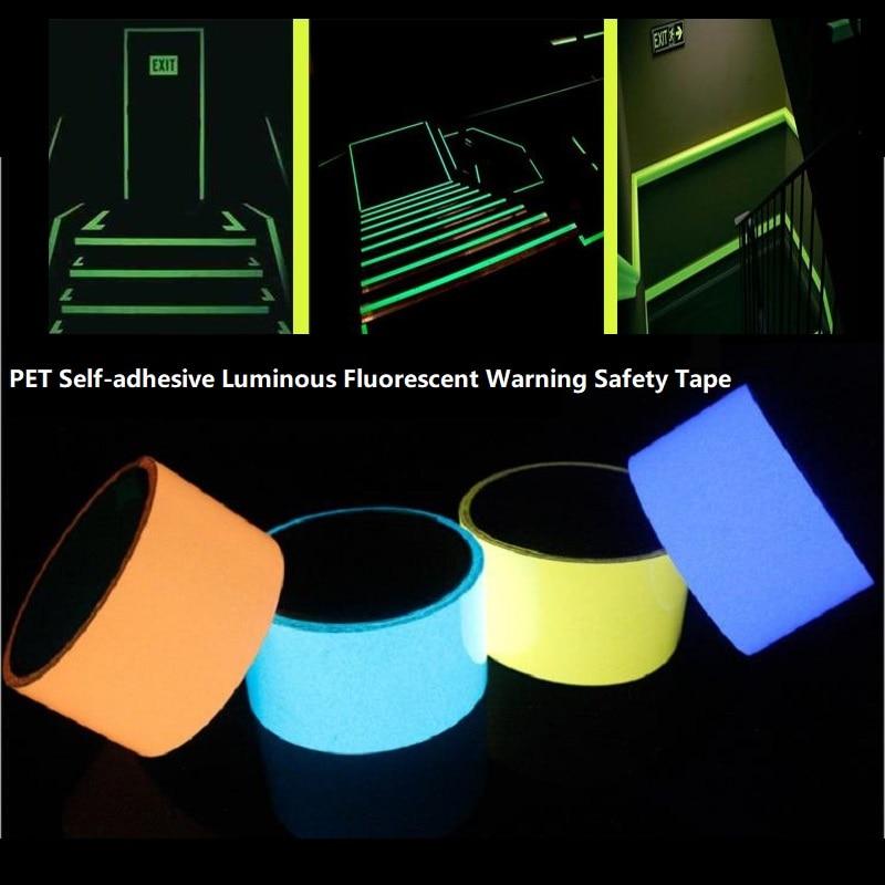 1.5CM*10M PET Self-adhesive Luminous Fluorescent Warning Safety Tape Luminous Storage Film Fire Road Luminous Sign