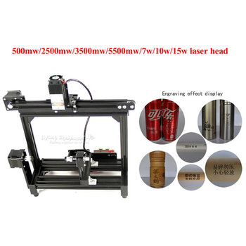 DIY desktop diode laser engraving machine 500mw 2500mw 3500mw 5500mw 7w 10w 15w for cylinder items eggs LOGO picture engraving