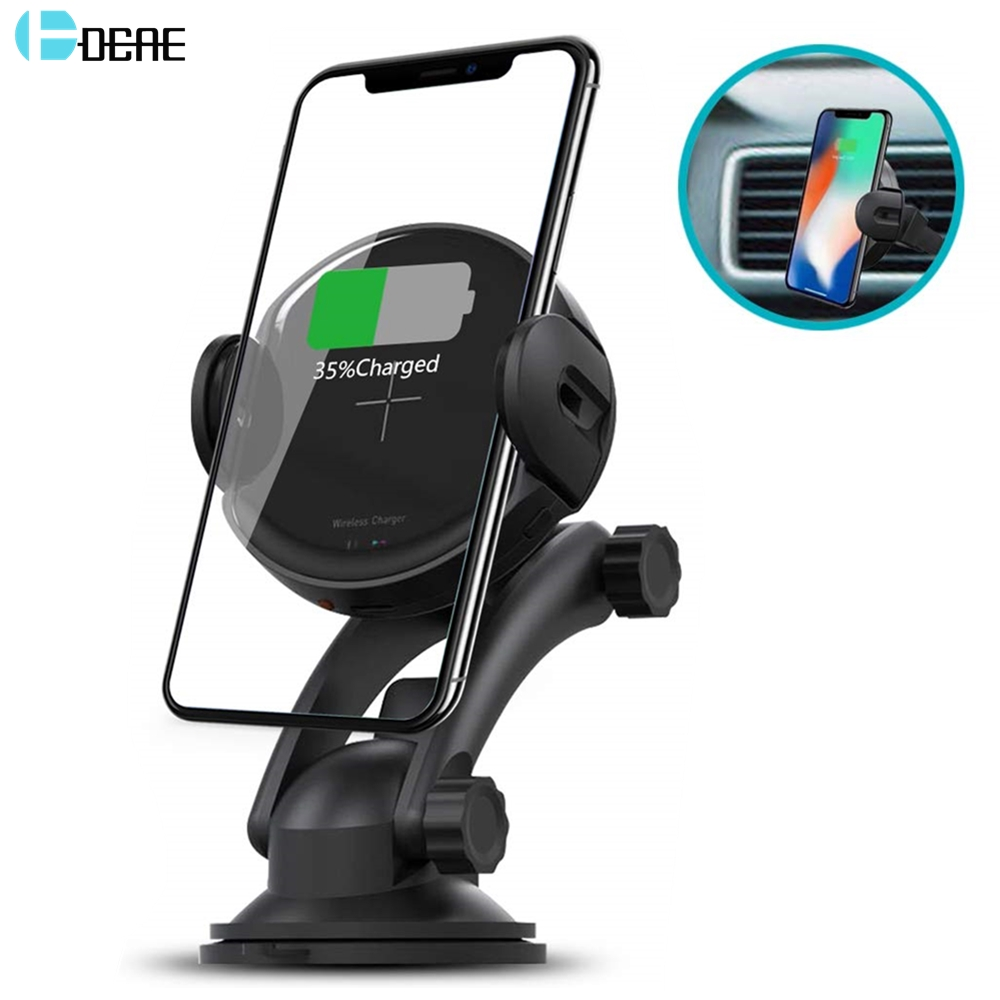 DCAE 15W Automatic Clamping Qi <font><b>Wireless</b></font> <font><b>Car</b></font> <font><b>Charger</b></font> Mount Phone Holder Fast Charging for iPhone 11 XS XR X 8 Samsung S20 S10 S9 image