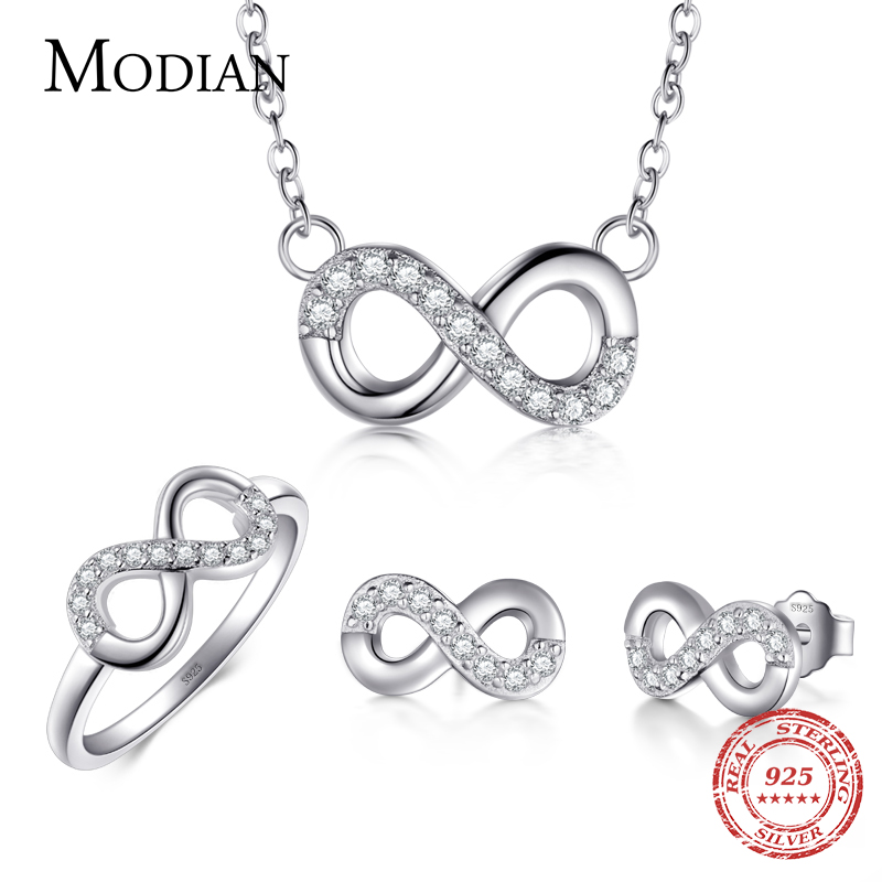 Modian 2017 Sale Solid 925 Sterling Silver Jewelry Set Clear CZ Infinite Love Ring Classic Stud Earrings Fashion Necklace Chain