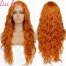 Lisihair чистый красный черный цвет длинные волнистые парики