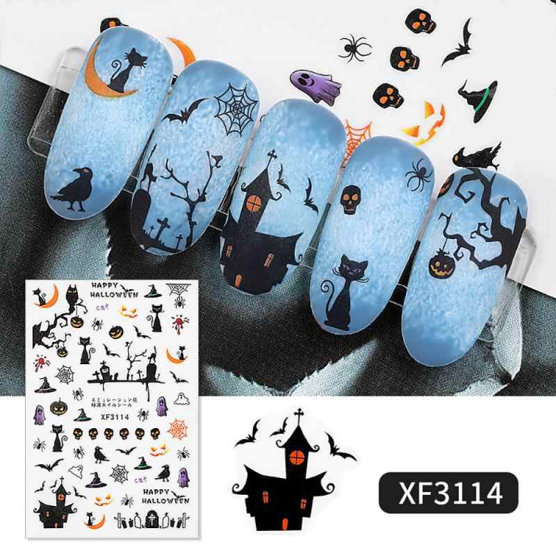 1Pc Halloween Nail Sticker Water Zelfklevende Nail Art Tattoo Spinneweb Zwarte Kat Vleermuis Pompoen Decals Voor Diy decor Wraps Levendige
