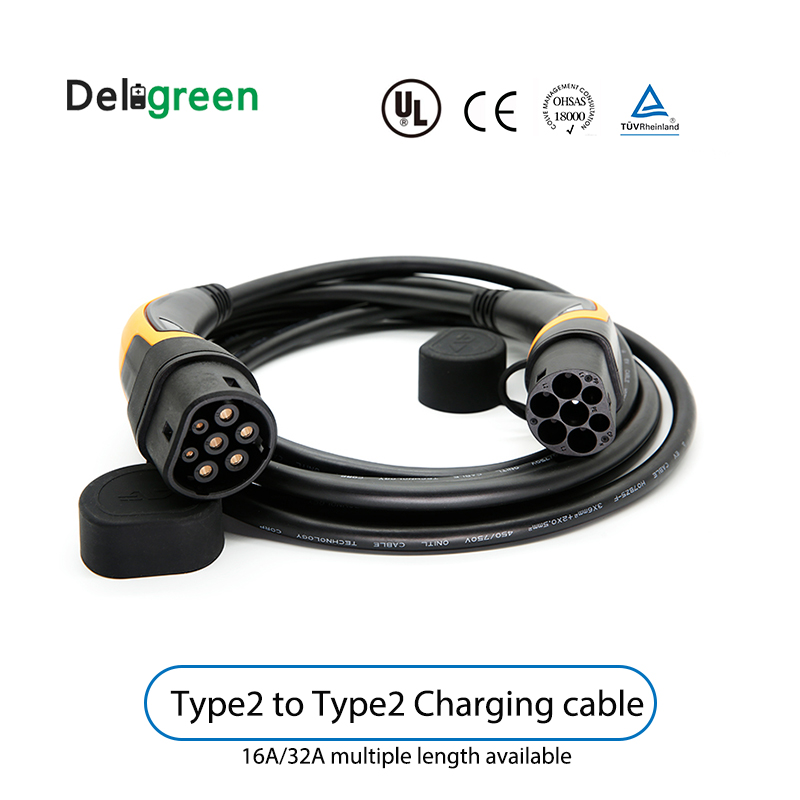5m 16A 32A single phase EV Cable Type 2 to Type 2 IEC62196 EV Charging Plug