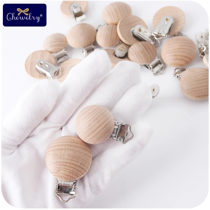5pcs/lot Fine Quality Baby Pacifier Clips Beech Wood Wooden Pacifier Clips BPA Free Necklace Diy For Pacifier Chain Holder Toys