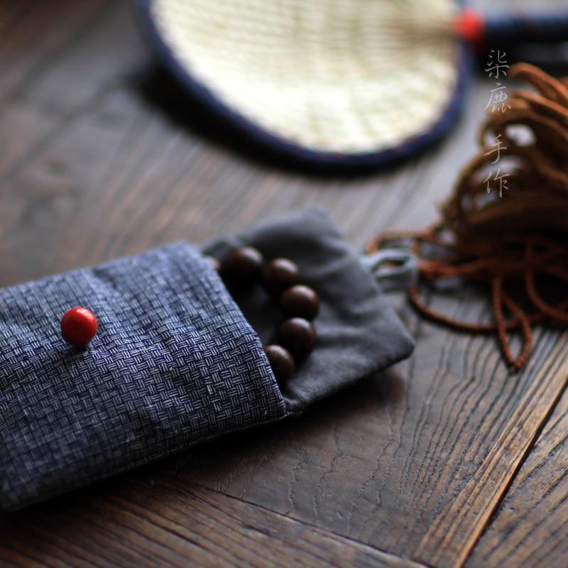[Qi Deer] Cinnabar Hand-woven Cloth Jewelry Bags Creative Wallet Women's Fabric Purse Mini Coin Bag