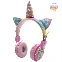 Golden Cute Unicorn Headphone 3.5mm Wired with Microphone Girls Music Stereo Earphone Computer Phone Learning Gamer Headset