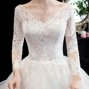 Image 5 - Fashion simple V Neck Backless Wedding Dress 2020 New Arrvial long sleeve train 100 cm Applique princess Brida Robe De Mariee