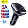Автомобильное зарядное устройство Baseus Quick Charge 4 0 FM передатчик для телефона Bluetooth 5 0 быстрая зарядка автомобильное зарядное устройство USB зар...