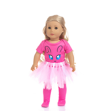 Fit 18 inch 43cm Doll Clothes Born New Baby White Yellow Blue Rabbit Rainbow Dress Suit accessories For Gift