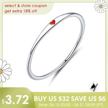 bamoer Sterling Silver 925 Tiny Red Enamel Heart Finger Rings for Women Circle Slim Fashion Jewelry Bijoux 2019 New SCR620