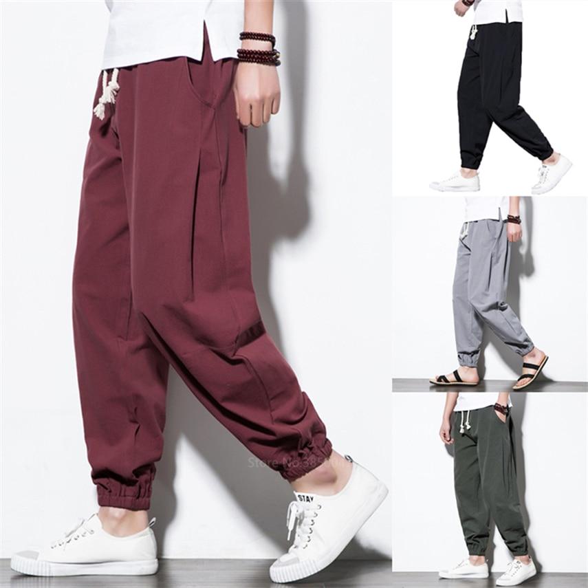 Новые японские брюки в азиатском стиле для мужчин, винтажные мужские Леггинсы в стиле ретро, самурая, китайские брюки макси