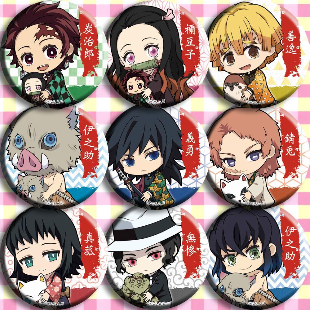 9 Type Anime Demon Slayer: Kimetsu No Yaiba Kamado Tanjirou Agatsuma Zenitsu Kamado Nezuko Cosplay Prop Brooch Plastic Badges