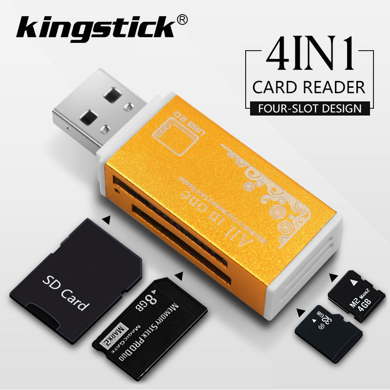 4 In 1 USB 2.0 Lighter Shape Card Reader Aluminum Alloy Shell High Speed Memory Card Reader Portable Support M2, MS/MS PRO Etc 1
