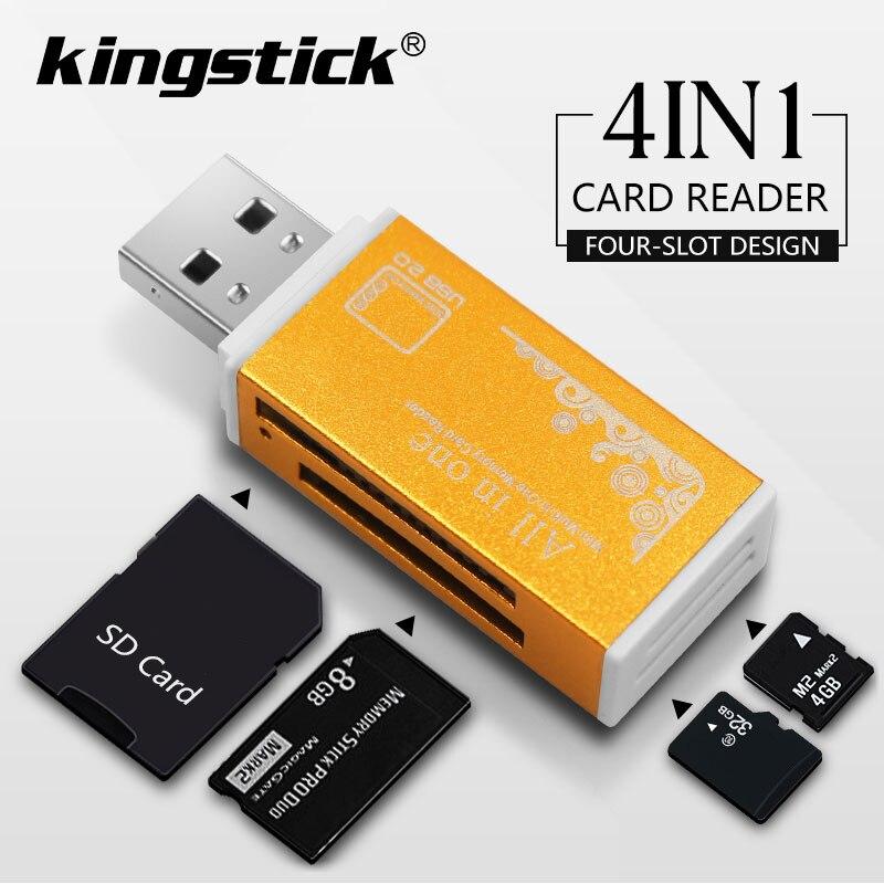 4 в 1 USB 2,0 зажигалка форма кард-ридер алюминиевый сплав корпус высокоскоростной кард-ридер памяти портативная поддержка M2, MS/MS PRO и т. Д.
