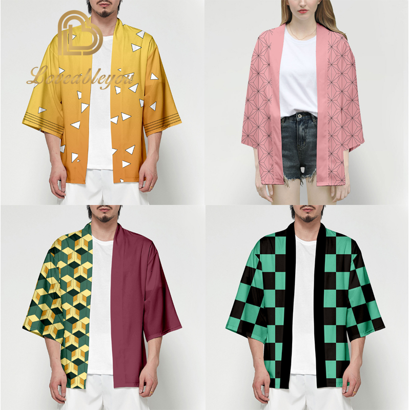 Anime Demon Slayer Kimetsu No Yaiba Tanjiro Kamado Cosplay Costume Men Kimono Plus Size Jackets Halloween Party For Women Tops