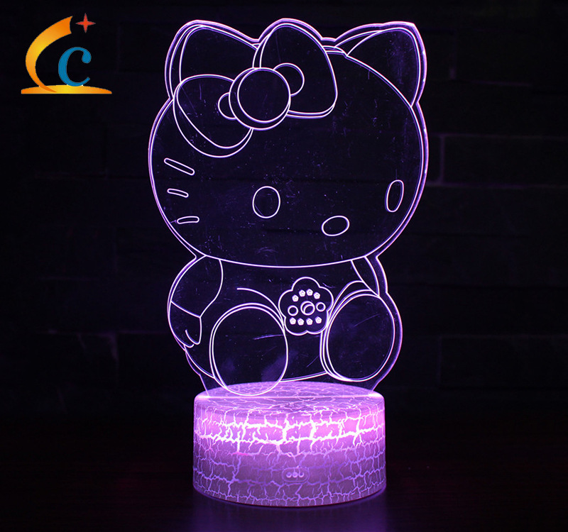 Electricity Supplier Hot Sales Hello Kitty Series 3D Night Lamp USB Plug Colorful Bedside Table Lamp Creative KT-C