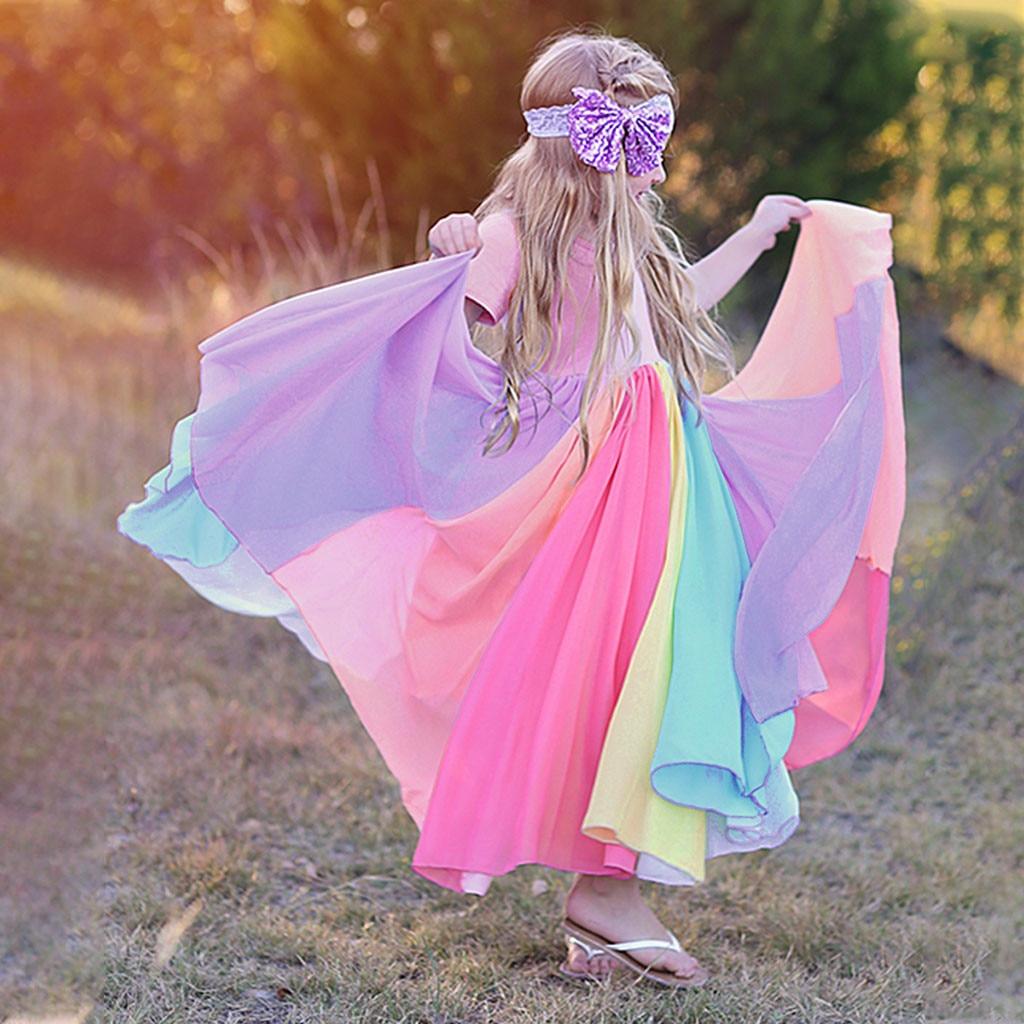40# Dress Kids Girls Short Sleeve Rainbow Stitching Dress Dress Princess Dress Birthday Party Dresses Kids Clothes Girls 3