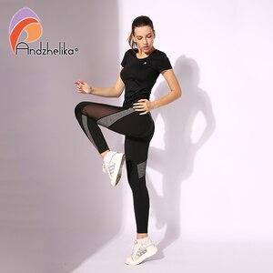 Image 4 - Andzhelika High Quality Mesh Running Sport Tights Women Mention Hip Gym Yoga Capri Pants Tummy Control Fitness Athletic Leggings