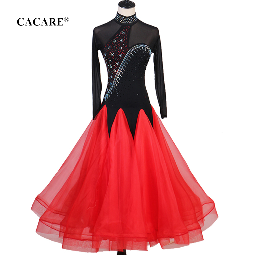 CACARE 2020 Ballroom Dance Competition Dresses Waltz Dress Standard Dance Dresses Tango D0720 Mesh Sleeve Big Hem Backless