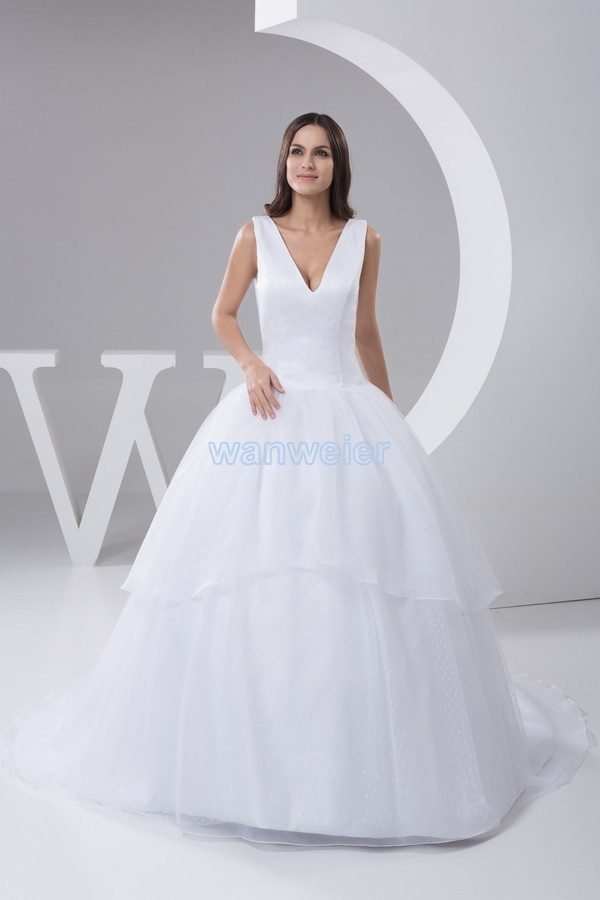 Free Shipping 2016 New Design Gt300 Plus Size Custommade Color/size V-neck Bridal Gown Good Quality Princess White Wedding Dress