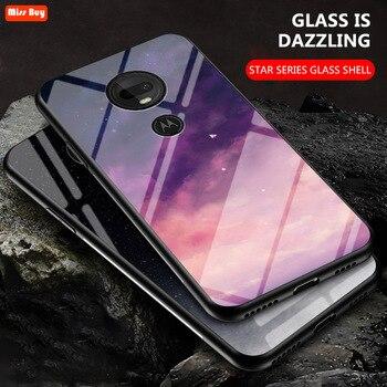 Перейти на Алиэкспресс и купить Роскошный чехол из закаленного стекла с звездным небом для Moto G7 G7 Power G7Play G6 Play E6 Play E5 Plus One Zoom, мягкий бампер с краями