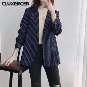 Women Striped Blazer Fashion Korean Office Lady Suit Jacket Puff Sleeve None Button Casual Coat Outerwear цена 2017