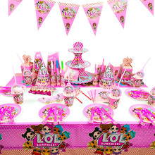 Lol surpresa boneca brinquedos festa decoração brinquedos conjunto desenhos animados anime modelo família lol bonecas festa de aniversário utensílios de mesa brinquedo presente da criança