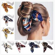 Novo chiffon bowknot elástico faixa de cabelo para meninas cor sólida scrunchies bandana laços de cabelo titular rabo de cavalo acessórios para o cabelo