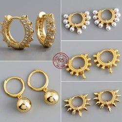 Fine Hoop Earring 925 Sterling Silver Women Earrings Pearl Zircon Luxury Accessories Exquisite Small Round Earrings Fine Jewelry