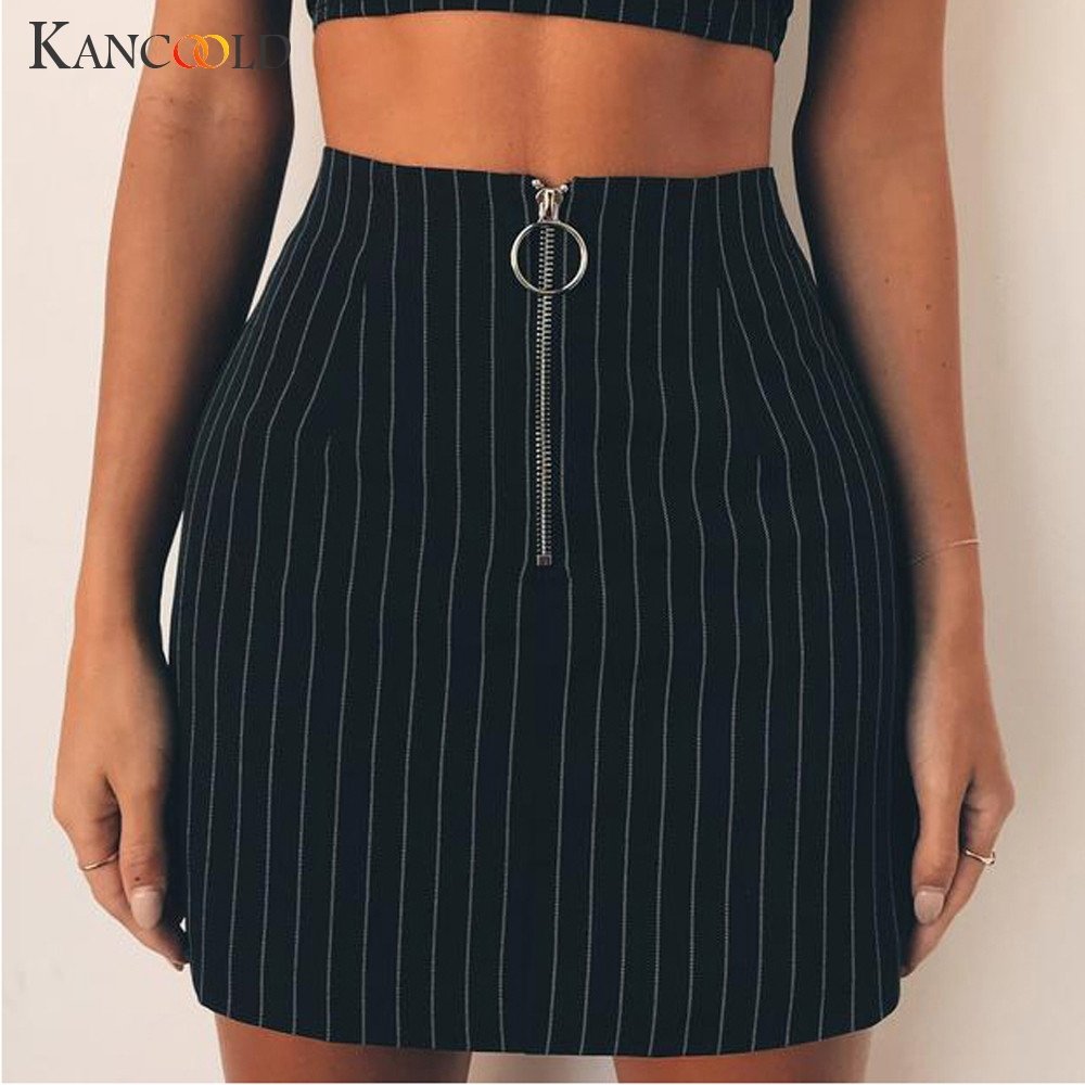 KANCOOLD Fashion Striped High Waist Mini Skirts Women Zipper Split Stretchy Bodycon Sexy Slim Casual Black Ladies Skirt Summer