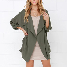 New Women's British Style Coat Seven-Quarter Sleeve Solid Color Trench Coat Loos