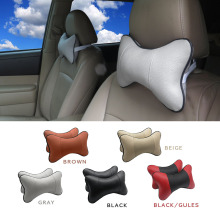 Car Seat Headrest Covers Car Leather Breathable Safety Pillow Auto Car Universal Head