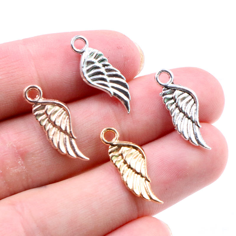 20pcs Charms angel wings 21x8mm Tibetan Silver Plated 4 Colors Pendants Antique Jewelry Making DIY Handmade Craft(China)
