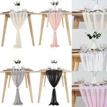 Изготовленный На Заказ Свадебный очень популярный очень легкий кремовый цвет день рождения элегантный свадебный слоновой кости шифоновый настольный бегун