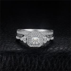 Image 2 - JPalace נסיכת בציר אירוסין טבעת סט 925 כסף סטרלינג טבעות נשים טבעות נישואים כלה סטי כסף 925 תכשיטים